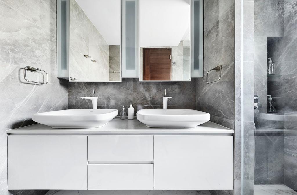 Modern, Condo, Bathroom, River Place, Interior Designer, akiHAUS, Indoors, Interior Design, Room