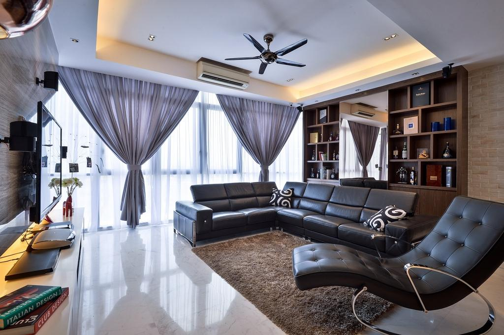 Contemporary, Condo, Living Room, Damansara Heights, Interior Designer, Surface R Sdn. Bhd., Human, People, Person, Book, Chair, Furniture, Couch, Indoors, Interior Design