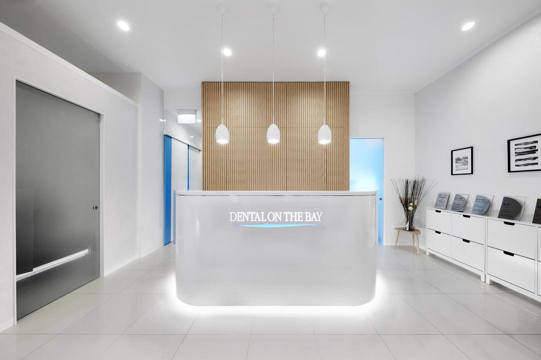 Dental on the Bay, akiHAUS, Minimalistic, Commercial, Reception Counter, Counter, Bathroom, Indoors, Interior Design, Room