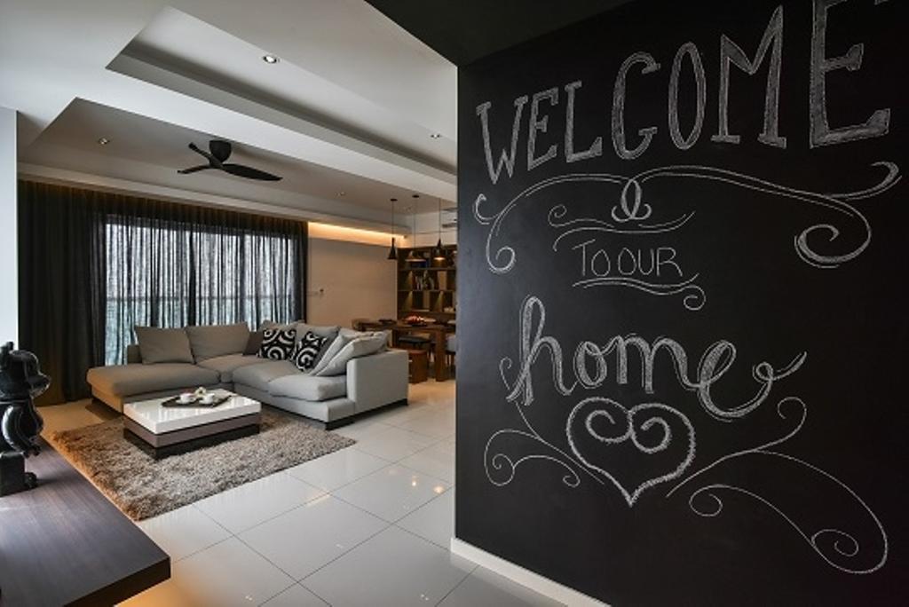 Contemporary, Condo, Living Room, Segambut, Interior Designer, Surface R Sdn. Bhd., Blackboard, Indoors, Interior Design, Room