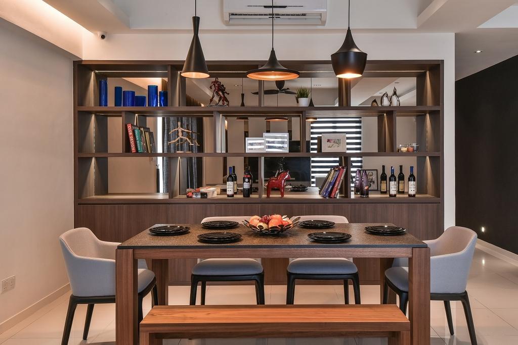 Contemporary, Condo, Dining Room, Segambut, Interior Designer, Surface R Sdn. Bhd., Chair, Furniture, Indoors, Interior Design, Room, Dining Table, Table