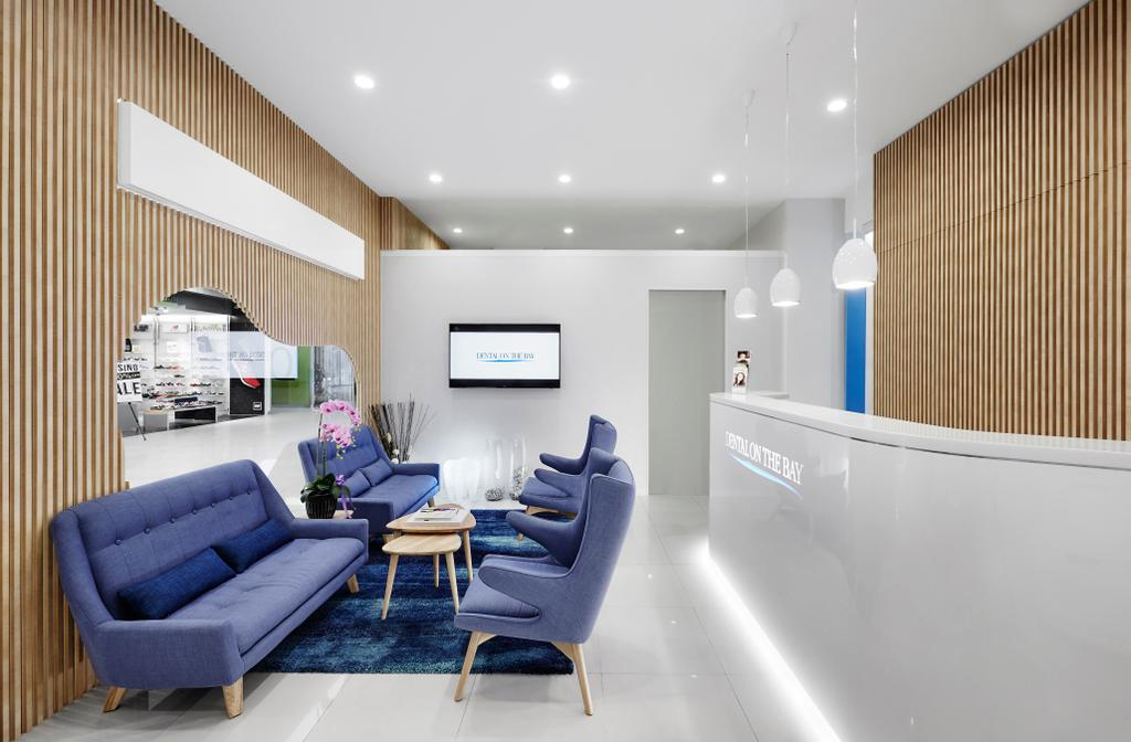 Dental on the Bay, Commercial, Interior Designer, akiHAUS, Minimalist, Reception, Store Front, Shop Front, Chair, Furniture, Indoors, Room, Waiting Room, Couch, Bathtub, Tub, Electronics, Entertainment Center, Home Theater