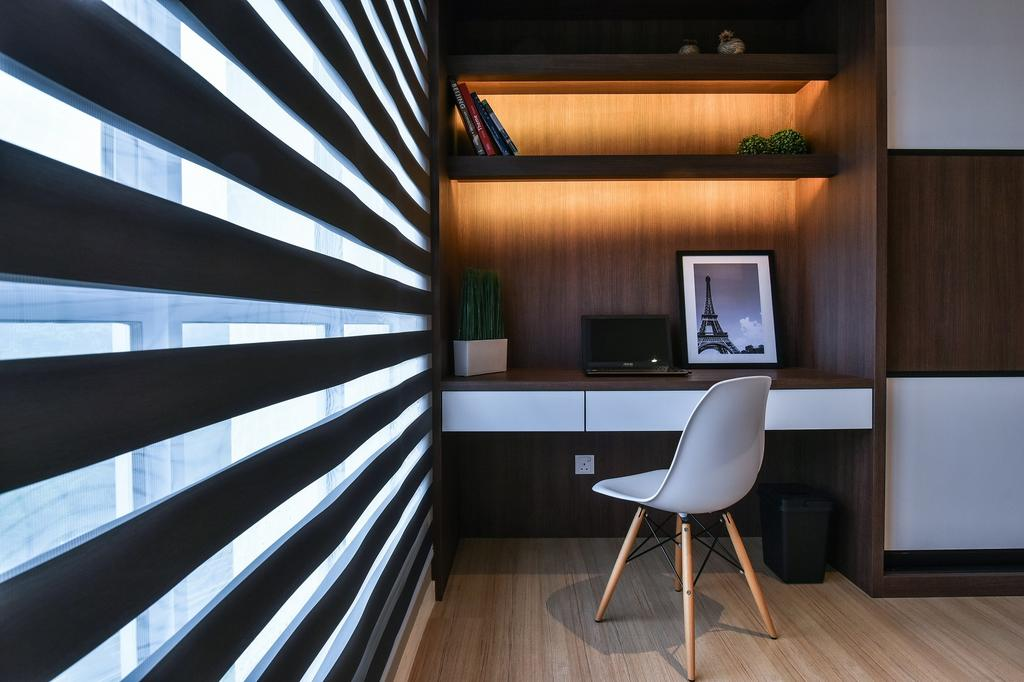Contemporary, Condo, Bedroom, Segambut, Interior Designer, Surface R Sdn. Bhd., Chair, Furniture, Indoors, Interior Design, Electronics, Entertainment Center, Home Theater