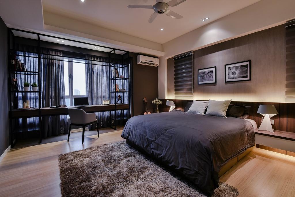 Contemporary, Condo, Bedroom, Segambut, Interior Designer, Surface R Sdn. Bhd., Bed, Furniture
