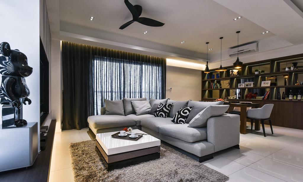 Contemporary, Condo, Living Room, Segambut, Interior Designer, Surface R Sdn. Bhd., Propeller, Couch, Furniture, Indoors, Room