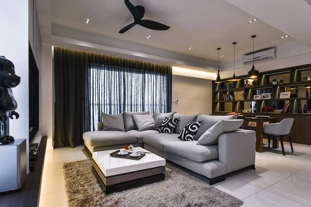 Segambut, Surface R Sdn. Bhd., Contemporary, Living Room, Condo, Propeller, Couch, Furniture, Indoors, Room