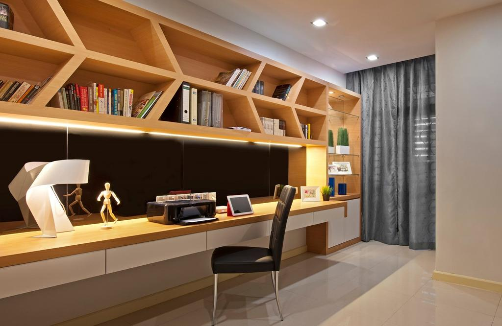 Traditional, Landed, Study, Bukit Jelutong, Interior Designer, Surface R Sdn. Bhd., Bookcase, Furniture, Apartment, Building, Housing, Indoors, Loft, Desk, Table, Couch