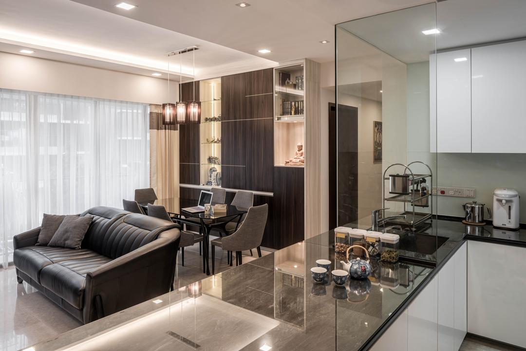 Bedok Reservoir, Zenith Arc, Modern, Living Room, HDB, Couch, Furniture, Granite