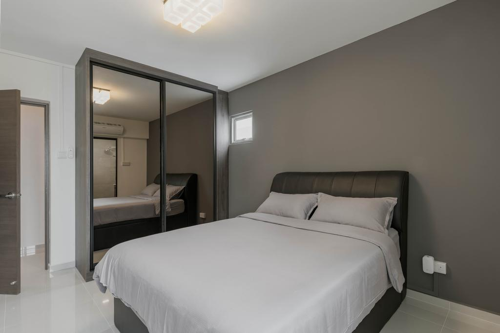 Minimalistic, HDB, Bedroom, Jurong West, Interior Designer, Zenith Arc, Modern, Bed, Furniture, Indoors, Room, Interior Design, Toilet