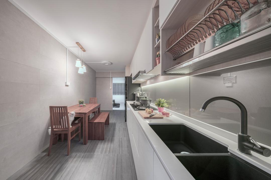 Petir Road, Zenith Arc, Modern, Kitchen, HDB, Dining Table, Furniture, Table, Bench, Hardwood, Stained Wood, Wood