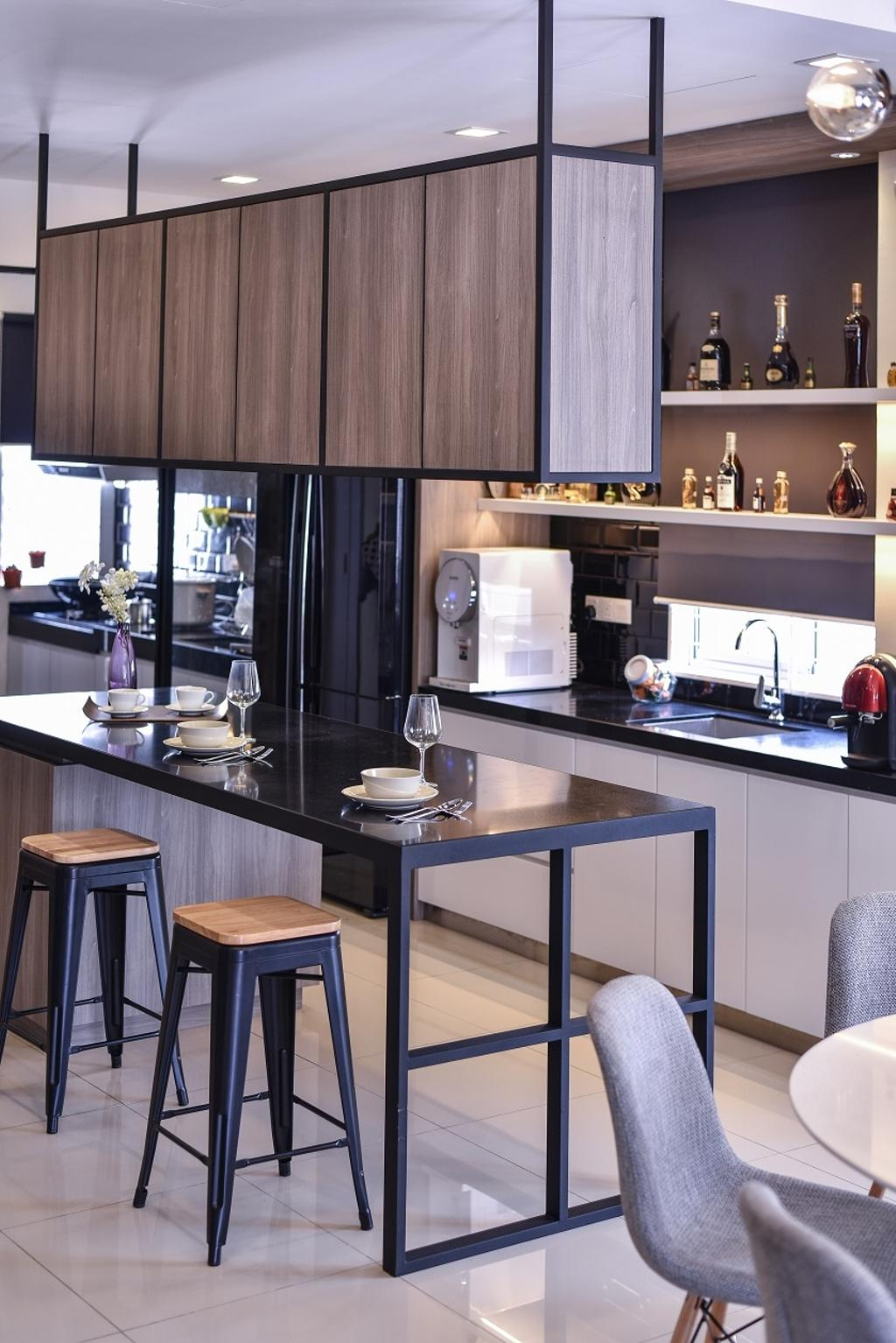 Contemporary, Landed, Kitchen, Setia Indah, Interior Designer, Surface R Sdn. Bhd., Appliance, Electrical Device, Oven, Microwave, Furniture, Tabletop, Dining Table, Table