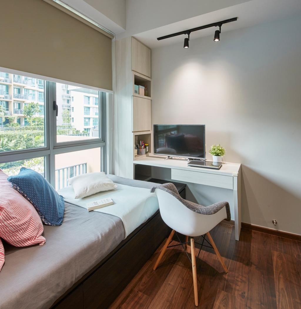 Modern, Condo, Bedroom, The Glades, Interior Designer, Carpenters 匠, Chair, Furniture, Electronics, Monitor, Screen, Tv, Television, Bed