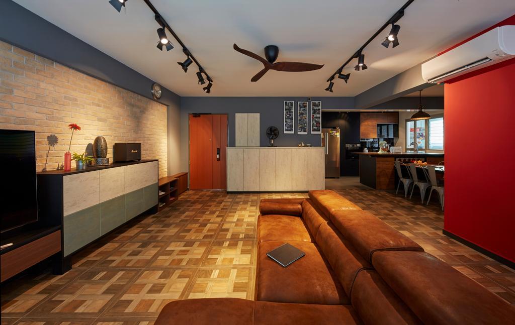 Contemporary, HDB, Living Room, Boon Lay Avenue, Interior Designer, Carpenters 匠, Retro, Couch, Furniture, Flooring