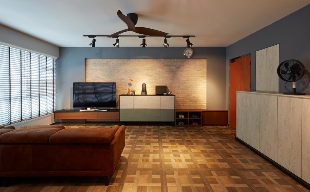 Contemporary, HDB, Living Room, Boon Lay Avenue, Interior Designer, Carpenters 匠, Retro, Aircraft, Airplane, Transportation, Couch, Furniture, Flooring