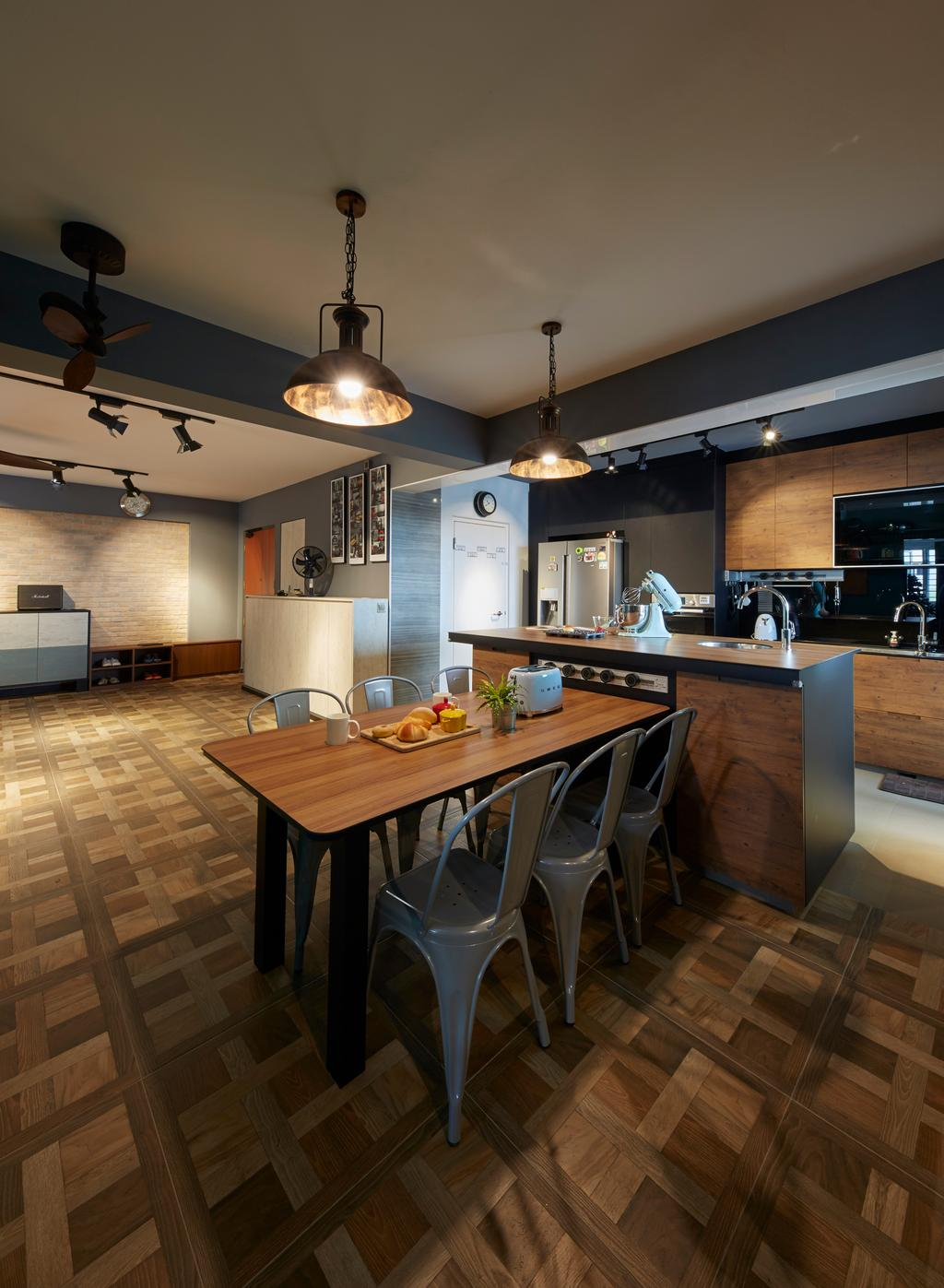 Contemporary, HDB, Dining Room, Boon Lay Avenue, Interior Designer, Carpenters 匠, Retro, Indoors, Interior Design, Kitchen, Room, Dining Table, Furniture, Table, Chair, Hardwood, Stained Wood, Wood