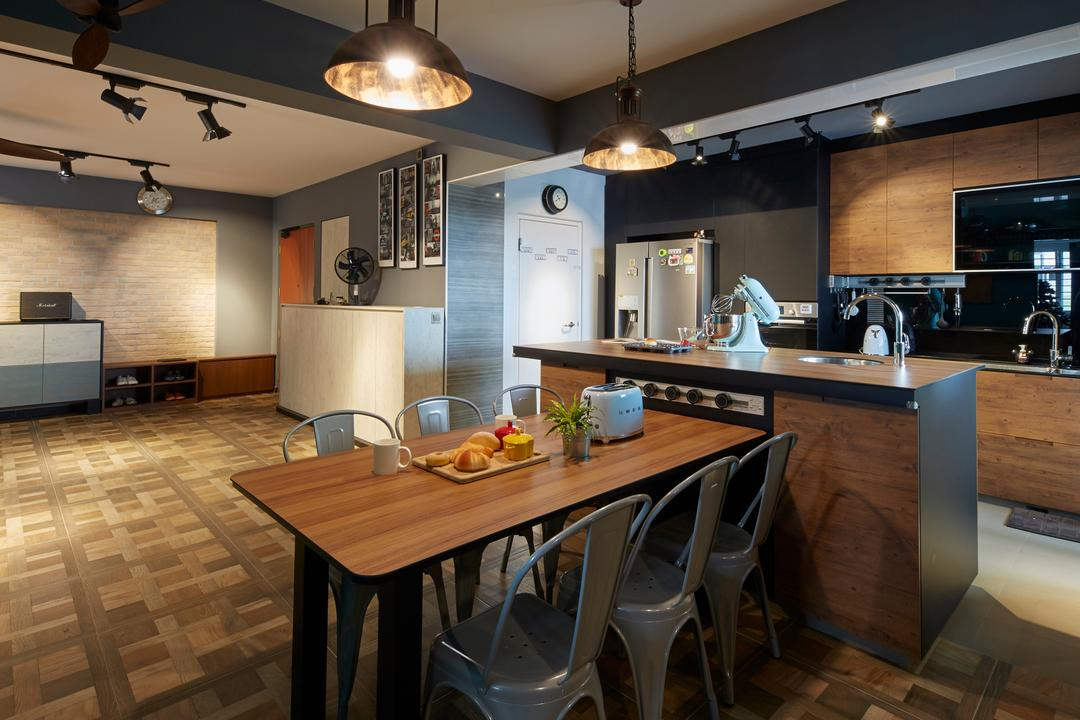 Boon Lay Avenue, Carpenters 匠, Contemporary, Retro, Dining Room, HDB, Indoors, Interior Design, Kitchen, Room, Dining Table, Furniture, Table, Chair, Hardwood, Stained Wood, Wood