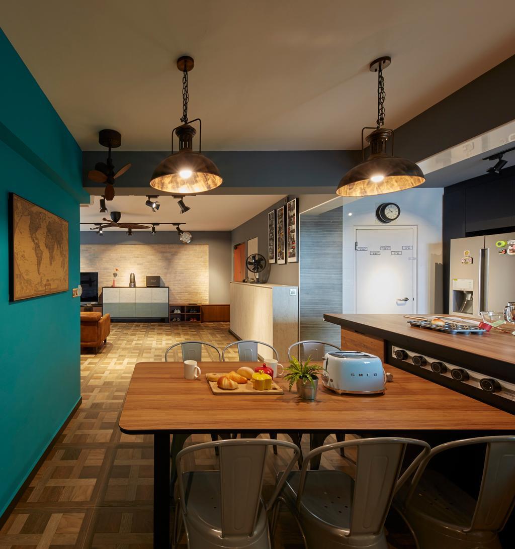 Contemporary, HDB, Dining Room, Boon Lay Avenue, Interior Designer, Carpenters 匠, Retro, Indoors, Interior Design, Room, Dining Table, Furniture, Table