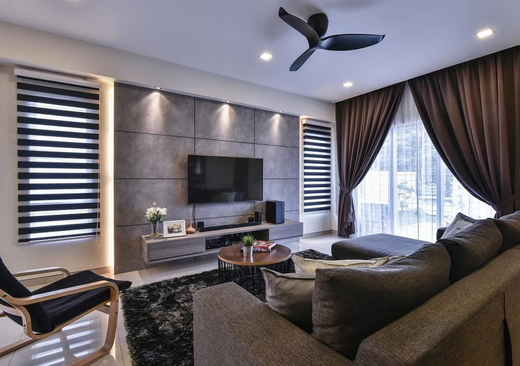 Contemporary, Landed, Living Room, Setia Indah, Interior Designer, Surface R Sdn. Bhd., Couch, Furniture, Fireplace, Hearth, Indoors, Interior Design, Room