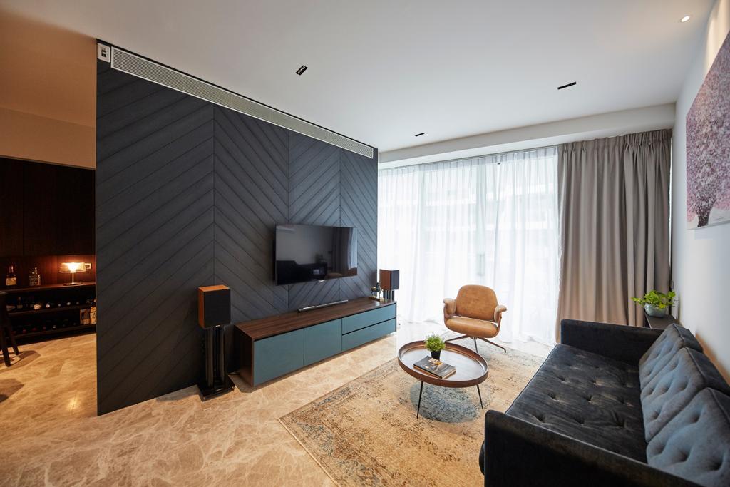 Contemporary, Condo, Living Room, Corals at Keppel Bay, Interior Designer, Carpenters 匠, Chair, Furniture, Indoors, Interior Design