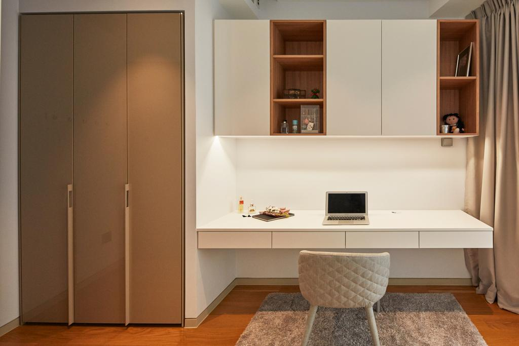 Contemporary, Condo, Study, Corals at Keppel Bay, Interior Designer, Carpenters 匠, Workspace, Study Table, Suspended Study, Chair, Furniture, Bookcase