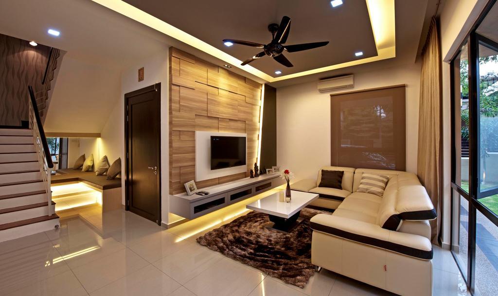 Traditional, Landed, Living Room, Aman Sari, Interior Designer, Surface R Sdn. Bhd., Indoors, Interior Design, Banister, Handrail, Staircase, Electronics, Entertainment Center, Door, Sliding Door
