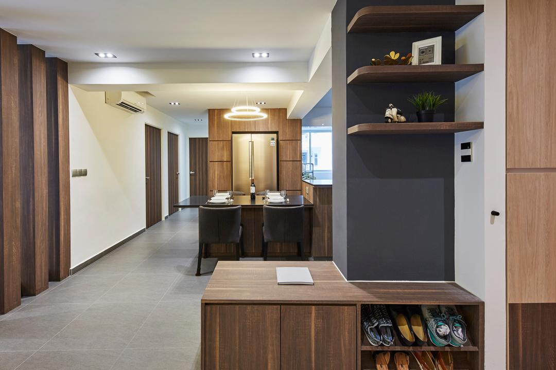 Woodlands Rise, Carpenters 匠, Modern, HDB, Flora, Jar, Plant, Potted Plant, Pottery, Vase, Hardwood, Stained Wood, Wood, Indoors, Interior Design