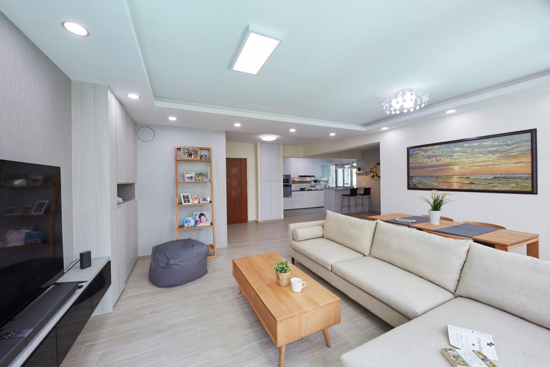 Yung Kuang Road, Carpenters 匠, Modern, Minimalistic, Living Room, HDB, Architecture, Building, Skylight, Window, Couch, Furniture, Lighting, Indoors, Interior Design, Coffee Table, Table, Room