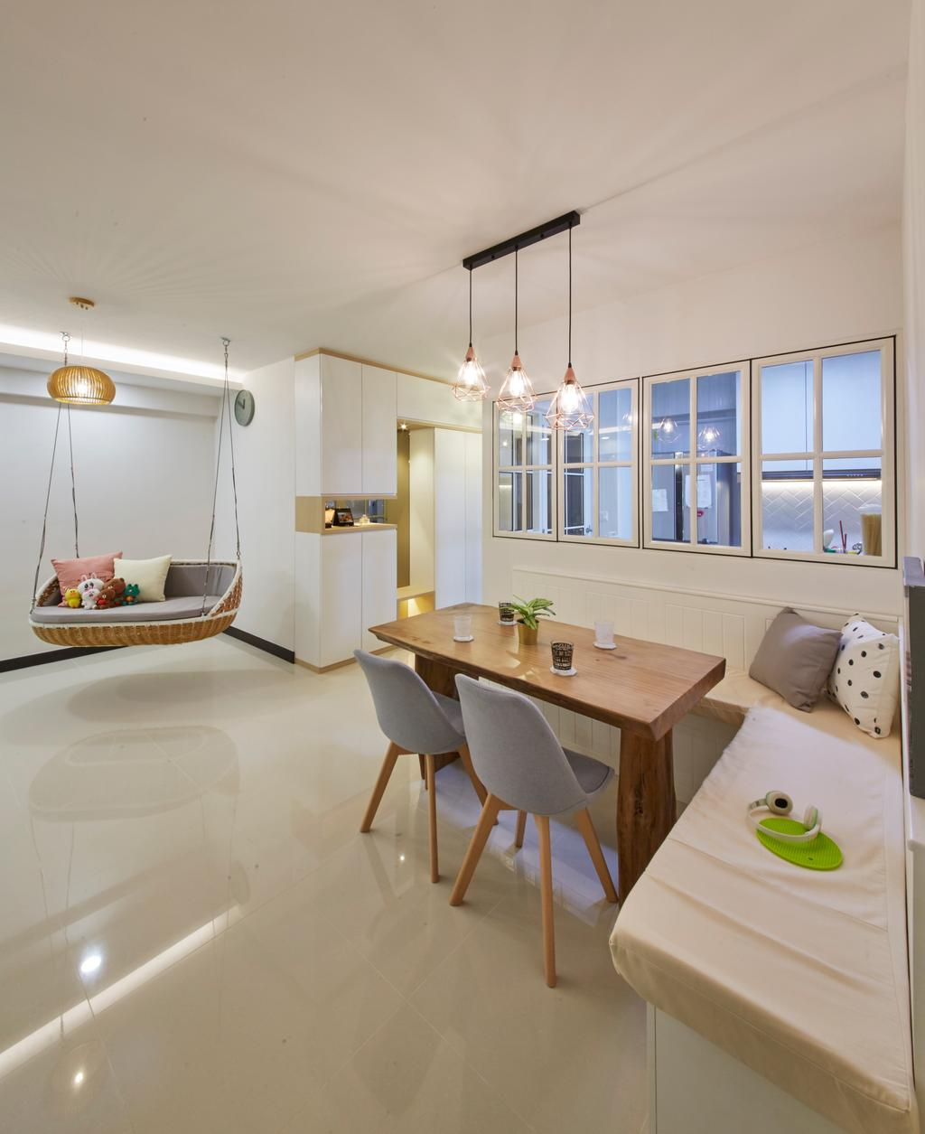 Scandinavian, HDB, Dining Room, Bukit Batok Street 22, Interior Designer, Carpenters 匠, Dining Table, Furniture, Table, Indoors, Interior Design, Room, Chair, Bed