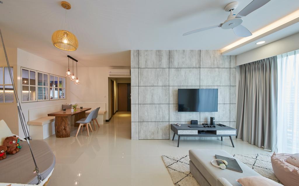 Scandinavian, HDB, Living Room, Bukit Batok Street 22, Interior Designer, Carpenters 匠, Dining Table, Furniture, Table, Sink, Indoors, Interior Design