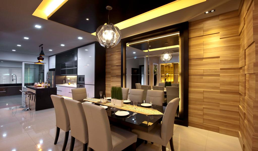 Traditional, Landed, Dining Room, Aman Sari, Interior Designer, Surface R Sdn. Bhd., Chair, Furniture, Indoors, Interior Design, Room, Couch, Building, Factory, Restaurant, Lighting, Dining Table, Table