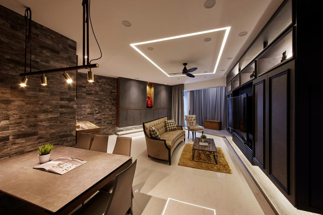 Chiltern Park, Carpenters 匠, Eclectic, Industrial, Living Room, Condo, Couch, Furniture, Lighting