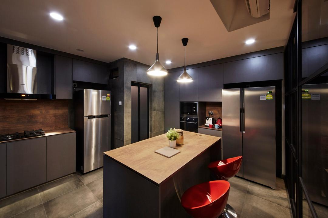 Chiltern Park, Carpenters 匠, Eclectic, Industrial, Kitchen, Condo, Appliance, Electrical Device, Microwave, Oven, Dining Room, Indoors, Interior Design, Room