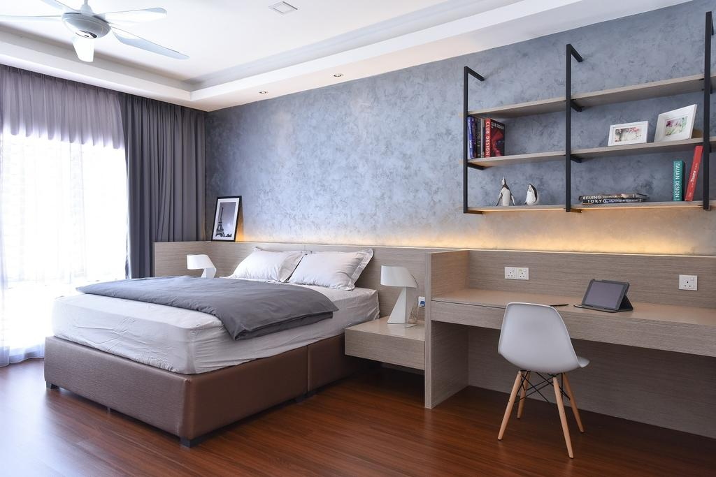 Contemporary, Landed, Bedroom, Wangsa Melawati, Interior Designer, Surface R Sdn. Bhd., Chair, Furniture, Bed, Computer, Electronics, Laptop, Pc, Indoors, Interior Design