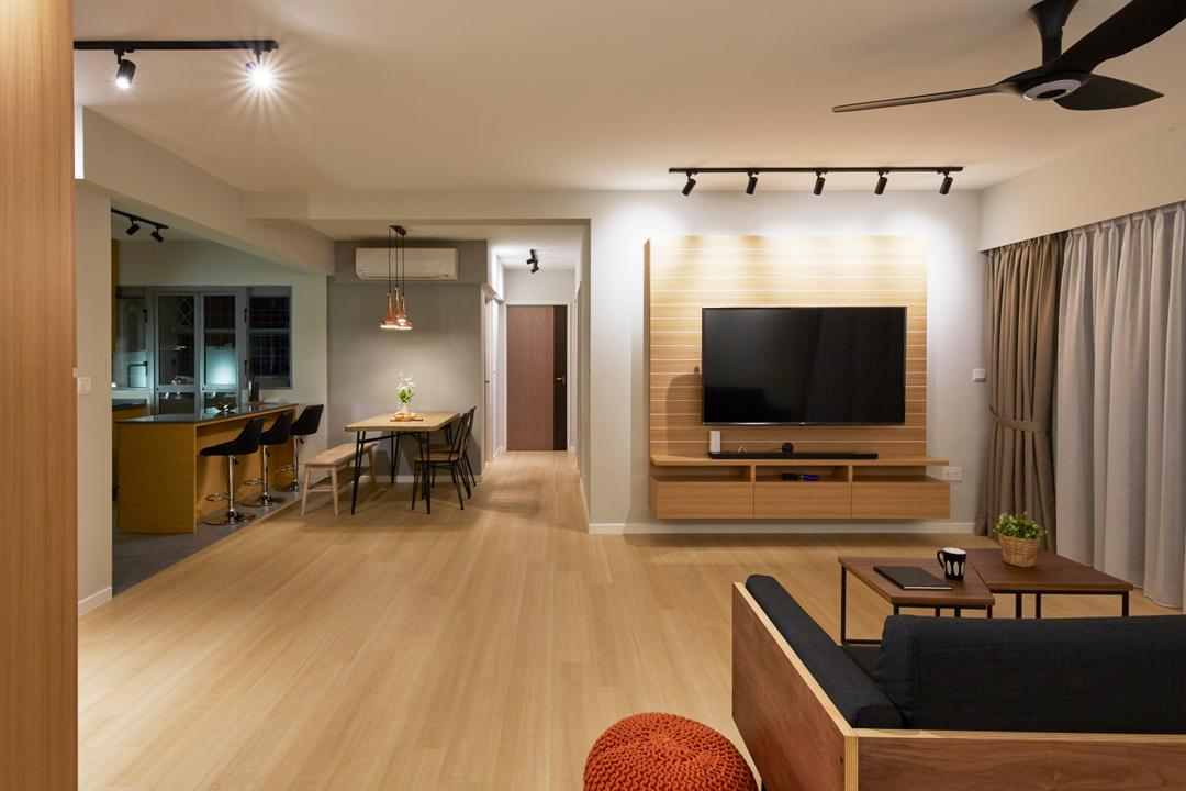 Edgedale Plains, Carpenters 匠, Contemporary, Living Room, HDB, Couch, Furniture, Table, Flooring, Electronics, Entertainment Center, Hardwood, Wood