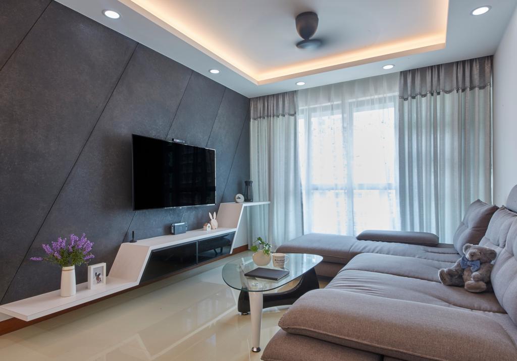 Modern, HDB, Living Room, Punggol Drive, Interior Designer, Carpenters 匠, Indoors, Interior Design, Couch, Furniture, Flora, Jar, Plant, Potted Plant, Pottery, Vase, Bathroom, Room