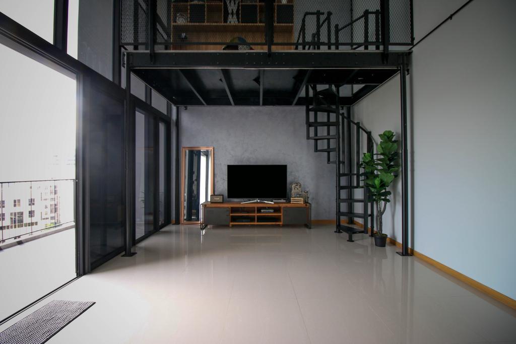 Contemporary, Condo, Living Room, The Trilinq, Interior Designer, Carpenters 匠, Eclectic, Flooring, Corridor, HDB, Building, Housing, Indoors, Loft