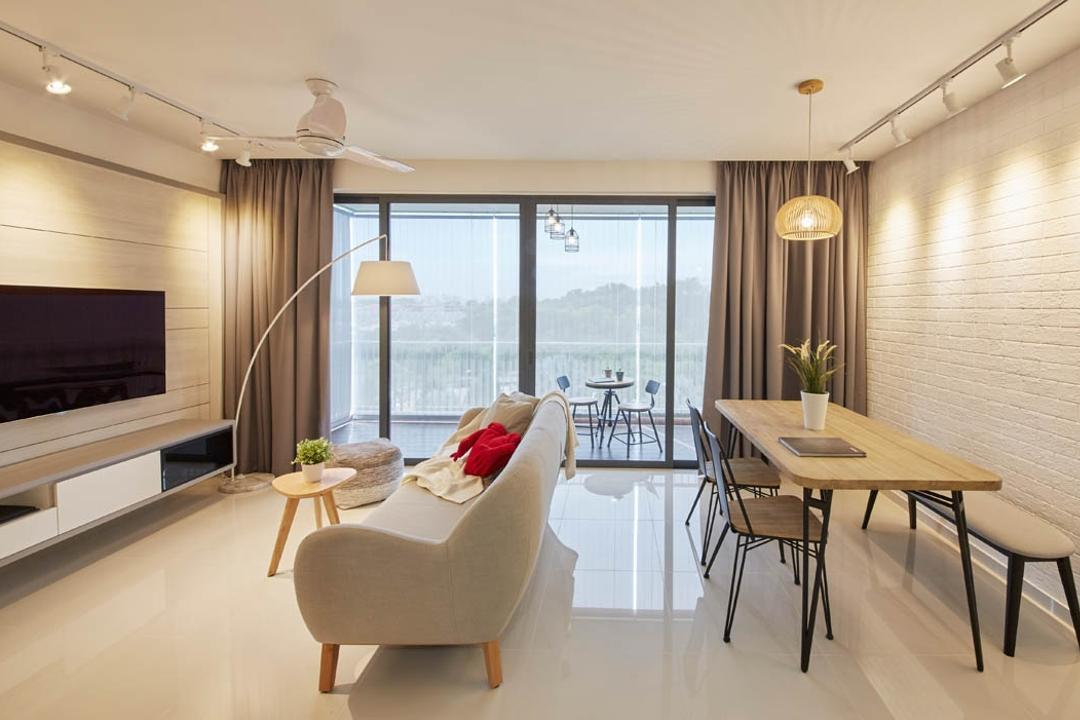 SkyPark Residences, Carpenters 匠, Scandinavian, Living Room, Condo, Dining Table, Furniture, Table, Indoors, Room, Dining Room, Interior Design, Appliance, Electrical Device, Microwave, Oven