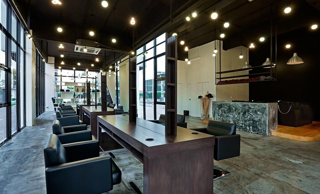 The Editor Hair Salon Ground Floor, Commercial, Interior Designer, Surface R Sdn. Bhd., Industrial, Couch, Furniture, Lighting, Chair