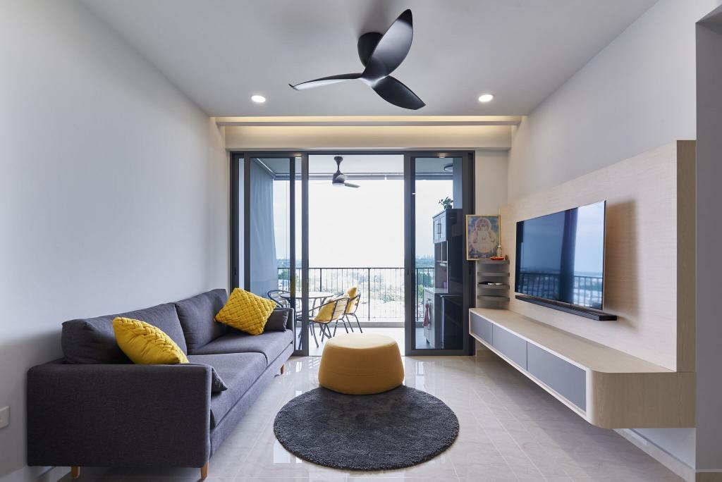Modern, Condo, Living Room, Signature @Yishun, Interior Designer, Charlotte's Carpentry, Couch, Furniture, Indoors, Interior Design, Room