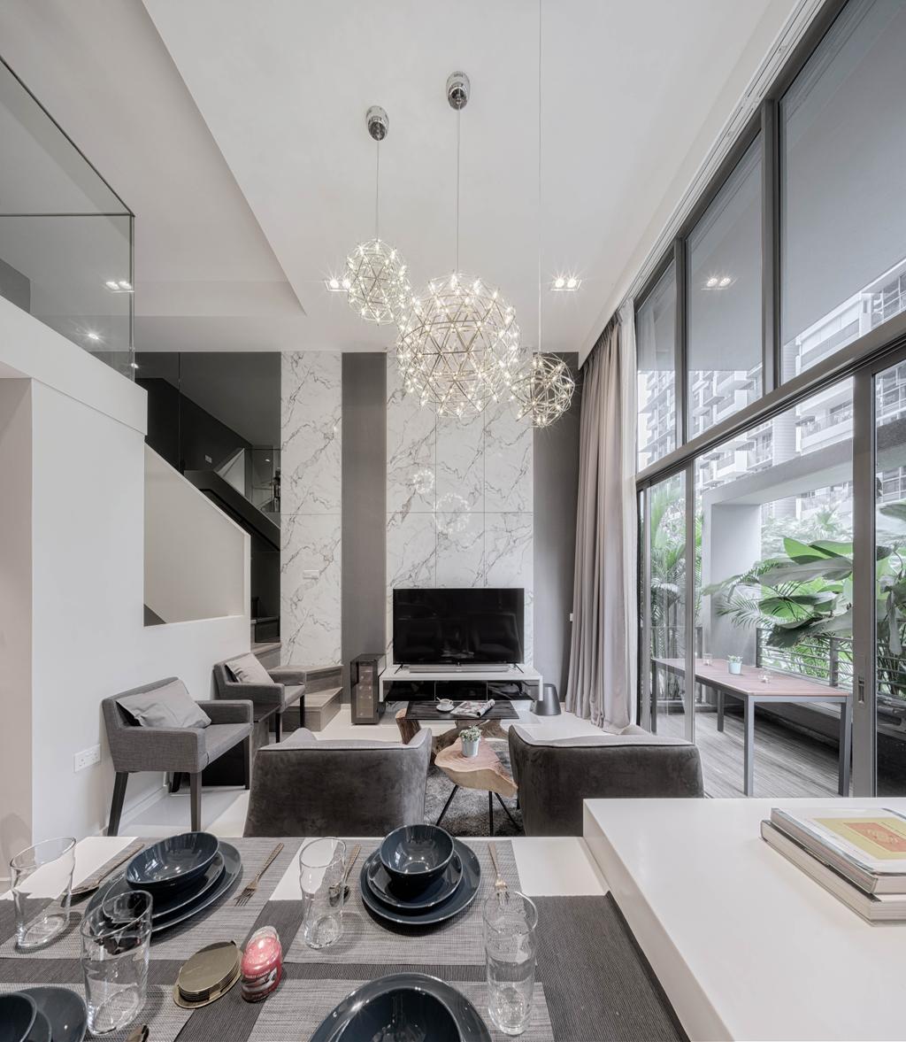 Modern, Condo, Dining Room, Riverbank, Interior Designer, Weiken.com, Couch, Furniture, HDB, Building, Housing, Indoors, Loft, Sink
