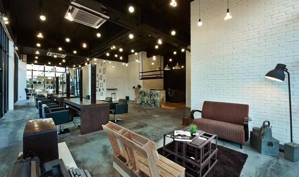 The Editor Hair Salon Ground Floor, Commercial, Interior Designer, Surface R Sdn. Bhd., Industrial, Indoors, Room, Waiting Room, Couch, Furniture, Restaurant, Plywood, Wood, Cafe, Chair