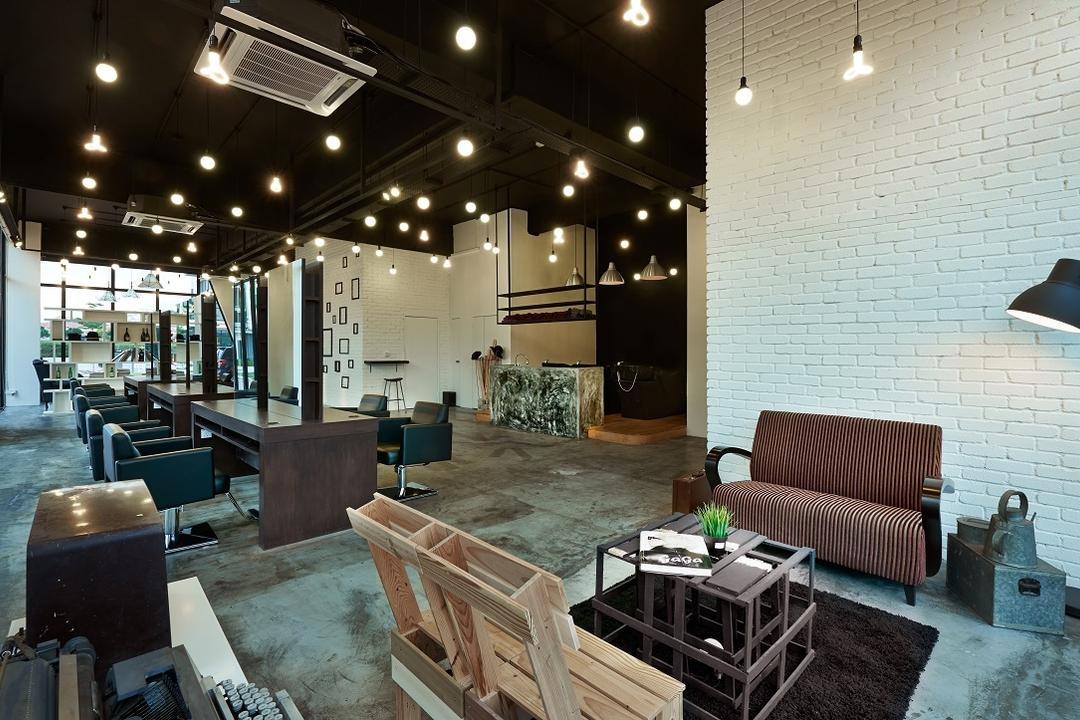 The Editor Hair Salon Ground Floor, Surface R Sdn. Bhd., Industrial, Commercial, Indoors, Room, Waiting Room, Couch, Furniture, Restaurant, Plywood, Wood, Cafe, Chair