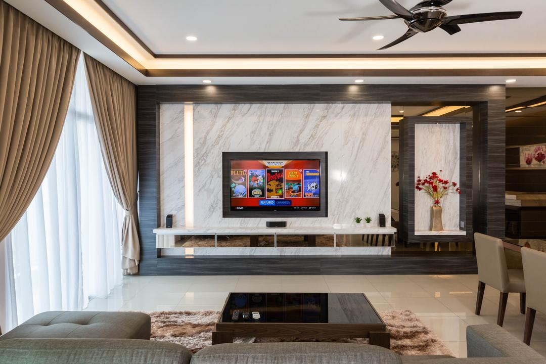Ferringhi Residences, Wood & Col Interior Design, Transitional, Living Room, Landed, Electronics, Monitor, Screen, Tv, Television, Animal, Bird, Swallow, Indoors, Interior Design