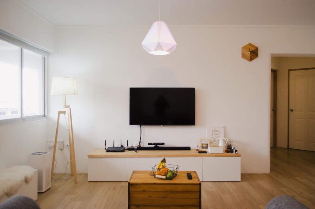 Minimalist, HDB, Living Room, Hougang Central, Interior Designer, Authors • Interior & Styling, Flooring, Bathroom, Indoors, Interior Design, Room