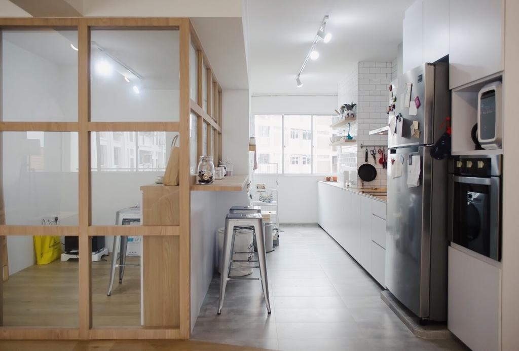 Minimalist, HDB, Kitchen, Hougang Central, Interior Designer, Authors • Interior & Styling, Appliance, Electrical Device, Fridge, Refrigerator, Dining Table, Furniture, Table, Microwave, Oven