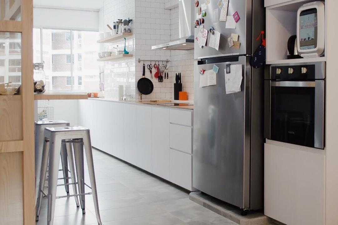 Hougang Central, Authors • Interior & Styling, Minimalistic, Kitchen, HDB, Bar Stool, Furniture, Appliance, Electrical Device, Fridge, Refrigerator