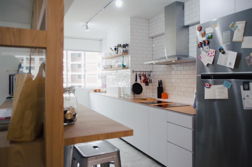 Minimalist, HDB, Kitchen, Hougang Central, Interior Designer, Authors • Interior & Styling, Appliance, Electrical Device, Fridge, Refrigerator