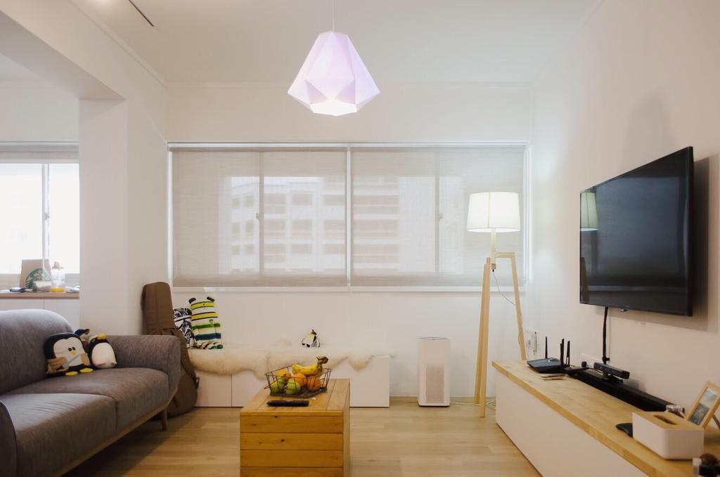 Minimalist, HDB, Living Room, Hougang Central, Interior Designer, Authors • Interior & Styling, Indoors, Interior Design, Couch, Furniture