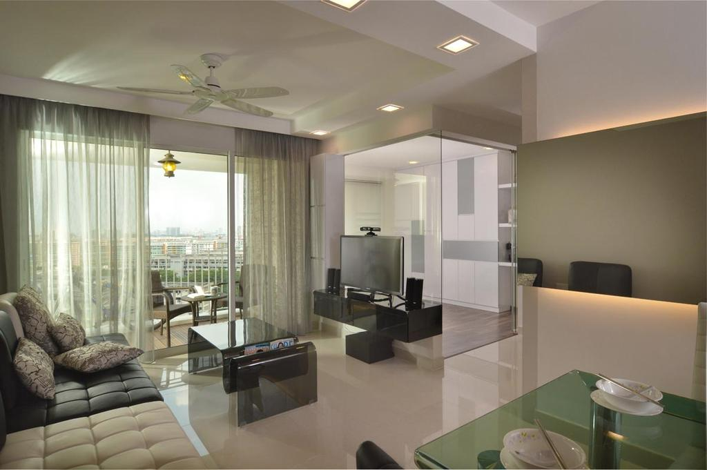 Contemporary, HDB, Living Room, Ang Mo Kio Street 52, Interior Designer, Meter Square, Ciling Fan, Curtain, Modern, Sofa, Coffee Tbale, Mirror, Glass Panels, Tv, Tv Console, Down Lights, Dining Room, Indoors, Interior Design, Room, Bathroom, Door, Sliding Door, Building, Housing