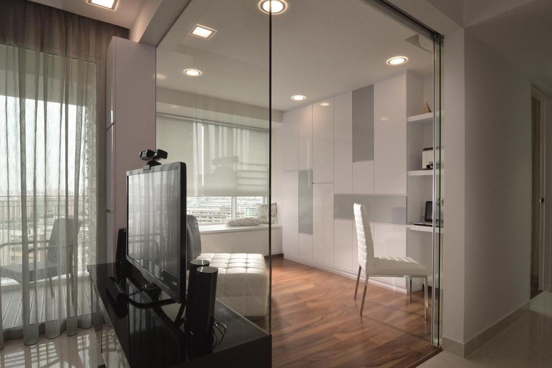 Ang Mo Kio Street 52, Meter Square, Contemporary, Study, HDB, Tv Tv Console, Glass Palnel, Glass Door, Shelving, Modern, Flooring